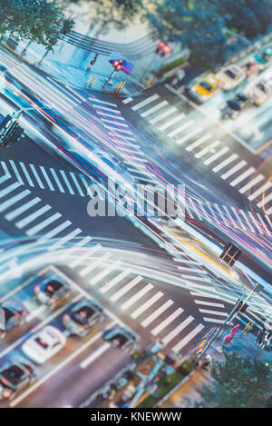 Busy highway traffic light trails at night in city of China. - Stock Photo