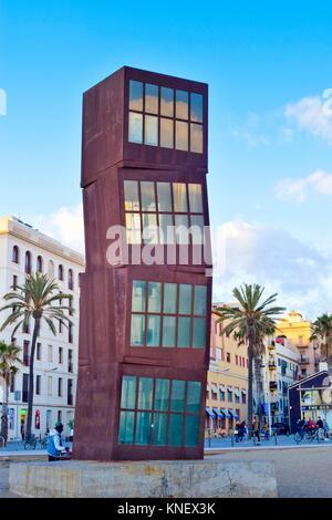 Sculpture ´L´estel ferit´ The wounded star by Rebecca Horn. Barceloneta beach, Barcelona, Catalonia, Spain - Stock Photo