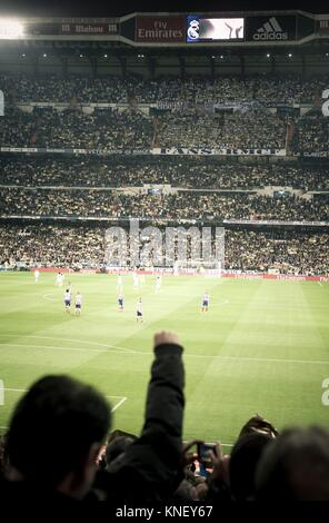 Real Madrid versus Atletico de Madrid in Santiago Bernabeu Stadium during a league match 2016. Madrid. Spain - Stock Photo