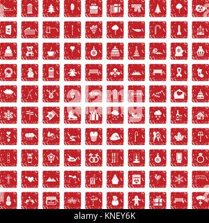 100 winter holidays icons set grunge red - Stock Photo