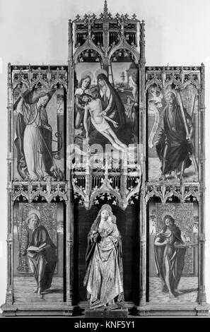 Virgin and Child with the Pietà and Saints. Artist: Spanish (Castilian) Painter (late 15th century); Medium: Tempera - Stock Photo