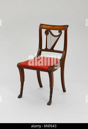 Side Chair. Date: 1810-20; Geography: Made in New York, New York, United States; Culture: American; Medium: Mahogany, - Stock Photo