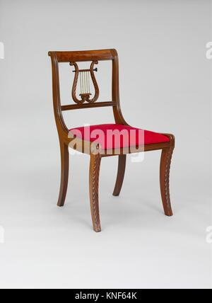 Side Chair. Date: 1805-15; Geography: Made in New York, New York, United States; Culture: American; Medium: Mahogany; - Stock Photo