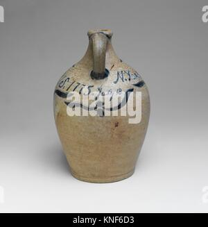 Jug. Maker: John Crolius (1733-1812); Date: 1775; Geography: Made in New York, New York, United States; Culture: - Stock Photo
