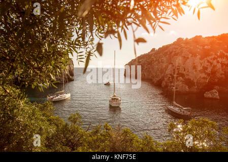 Yachts anchored in bay, Mahon, Menorca, Spain - Stock Photo