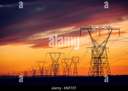 Electricity pylons at sunset, Enterprise, Oregon, United States, North America - Stock Photo