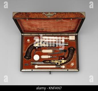 Cased Pair of Percussion Target Pistols with Loading and Cleaning Accessories, Made for Henri Charles Ferdinand - Stock Photo
