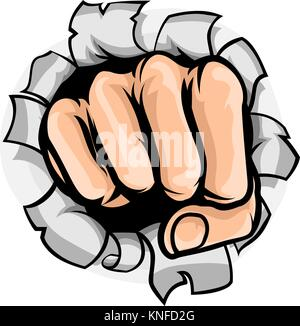 Fist Punching Hole - Stock Photo