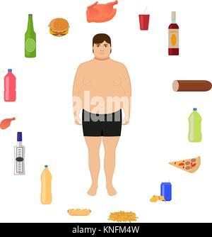 Vector cartoon fat man and unhealthy food - Stock Photo