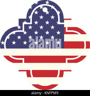 label and united states of america flag - Stock Photo