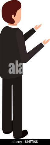 businessman stand back view character isometric - Stock Photo