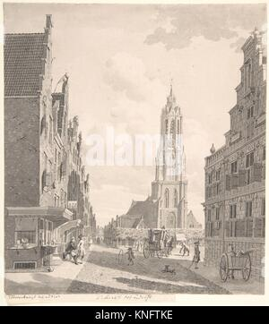 Marketplace of Delft with the Nieuwekerk. Artist: Gerrit Toorenburgh (Dutch, Amsterdam 1732-1785 Nijerk); Date: - Stock Photo