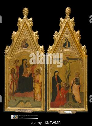 Diptych with tabernacle frames. Date: ca. 1400-1410; Culture: Sienese; Medium: Poplar. Carved, gilt; red-orange - Stock Photo