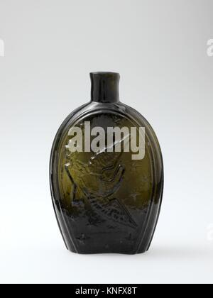 Figured flask. Maker: Probably Coventry Glass Works (1813-1850); Date: 1824-36; Geography: Made in Coventry, Connecticut, - Stock Photo