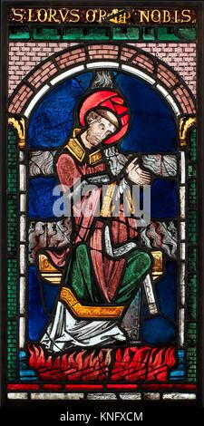 Martyrdom of Saint Lawrence. Date: ca. 1180; Geography: Made in Canterbury, Kent; Culture: British; Medium: Pot - Stock Photo