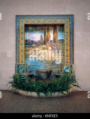 Fountain base for mosaic wall mural. Designer: Designed by Louis Comfort Tiffany (American, New York 1848-1933 New - Stock Photo