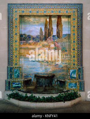 Garden Landscape. Designer: Designed by Louis Comfort Tiffany (American, New York 1848-1933 New York); Maker: Tiffany - Stock Photo