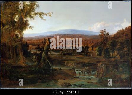 Landscape with Shepherd. Artist: Robert S. Duncanson (1821-1872); Date: 1852; Medium: Oil on canvas; Dimensions: - Stock Photo