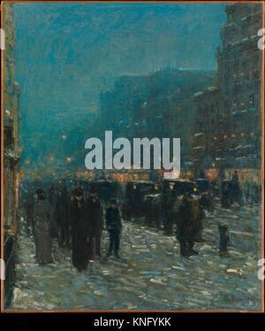 Broadway and 42nd Street. Artist: Childe Hassam (American, Dorchester, Massachusetts 1859-1935 East Hampton, New - Stock Photo