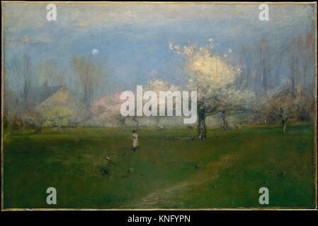 Spring Blossoms, Montclair, New Jersey. Artist: George Inness (American, Newburgh, New York 1825-1894 Bridge of - Stock Photo