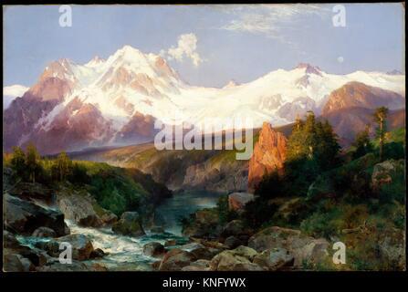 The Teton Range. Artist: Thomas Moran (American (born England), Bolton, Lancashire 1837-1926 Santa Barbara, California); - Stock Photo