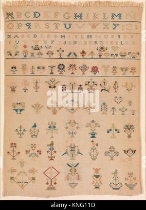 Amish sampler with lettering and motifs. Maker: Barbara Beiler; Date: early 19th century; Geography: Made in Lancaster - Stock Photo