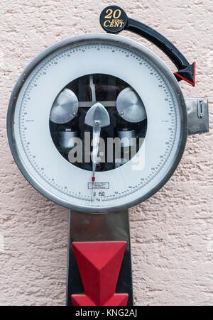 Step on public use weighing machine,  Radstadt, Austria, Europe - Stock Photo