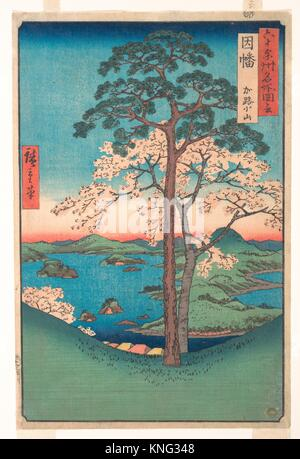 View of Kajikoyama, Inaba Province, from the series Views of Famous Places in the Sixty-Odd Provinces. Artist: Utagawa - Stock Photo