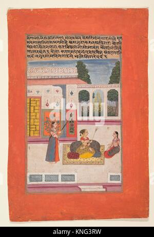Bangali Ragini: Folio from a ragamala series (Garland of Musical Modes). Date: 1709; Culture: India (Rajasthan, - Stock Photo