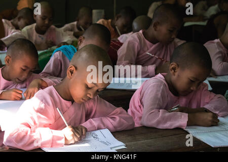 monk school, Sagaing, Mandalay, Myanmar, Asia - Stock Photo