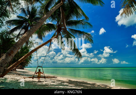 swing on the beach, Ko Samui - Thailand - Stock Photo