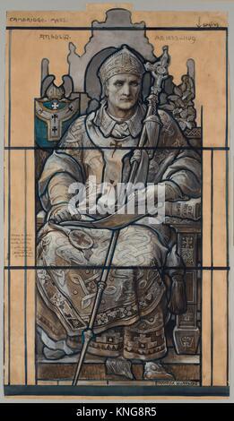 Cartoon for window, Saint Anselm, St. John´s Chapel Episcopal Divinity School, Cambridge, Massachusetts. Artist: - Stock Photo