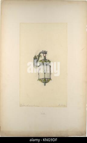 Design for hanging wall-mounted lantern. Artist: Louis Comfort Tiffany (American, New York 1848-1933 New York); - Stock Photo