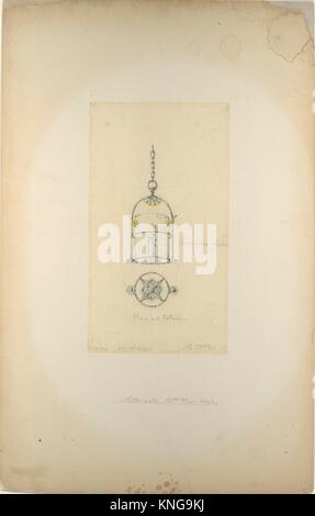 Design for hanging lantern. Artist: Louis Comfort Tiffany (American, New York 1848-1933 New York); Maker: Possibly - Stock Photo