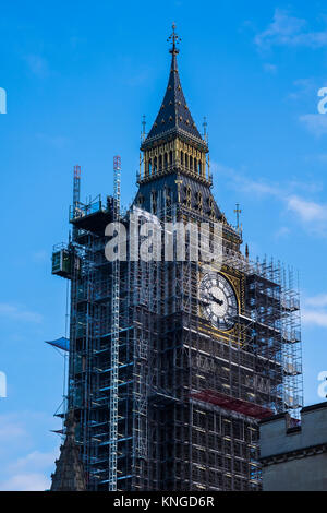 Elizabeth Tower covered in scaffolding during conservation works at the Palace of Westminster, London, England, - Stock Photo
