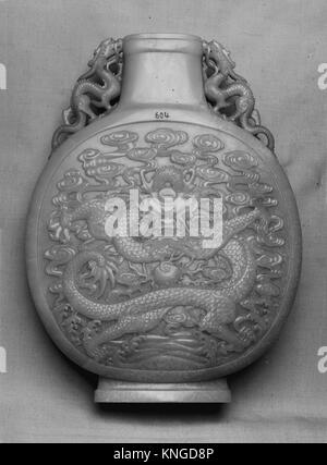 Vase in the shape of a pilgrim flask. Period: Qing dynasty (1644-1911); Date: 18th century; Culture: China; Medium: - Stock Photo