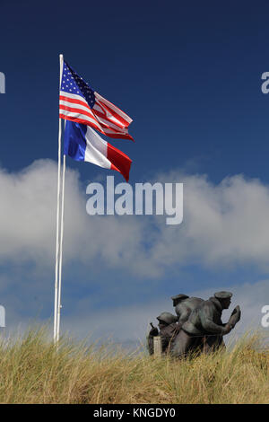 US Navy Monument, Utah Beach Museum, Sainte-Marie-du-Mont, Normandy France - Stock Photo