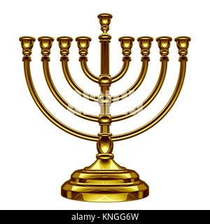 Hanukkah menorah seasonal traditional faith symbol isolated on a white background as a 3D illustration. - Stock Photo