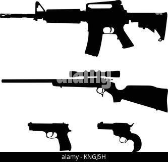 AR-15 style Semi-Automatic Rifle, Bolt Action Rifle and Pistols Silhouette Vector - Stock Photo