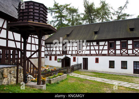 castle with open-air museum Seeberg, village Ostroh, Karlovy vary region, Czech republic - Stock Photo