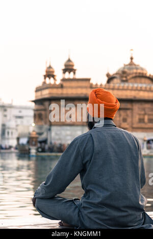Vertical picture of Indian man wearing orange turban praying in front of the holy lake at Sri Harmandir Sahib, known - Stock Photo