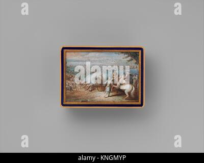 Snuffbox with four maritime scenes; Louis XIV crossing the Rhine in 1672. Maker: Adrien Jean Maximilien Vachette - Stock Photo