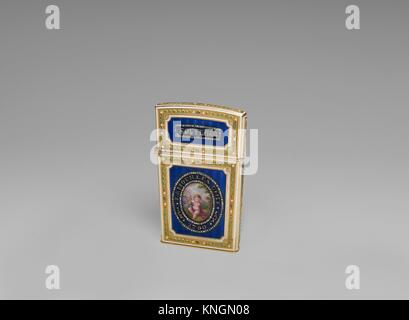 Souvenir. Date: 1780-81; Culture: French, Paris; Medium: Gold, enamel, diamonds; ivory; Dimensions: 3 1/8 x 2 1/16 - Stock Photo
