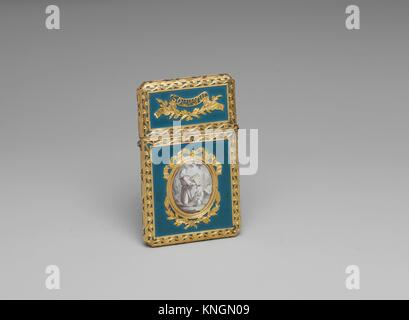 Souvenir. Date: probably 1762-68; Culture: French; Medium: Gold, enamel, lacquer, diamond; ivory tablet; Dimensions: - Stock Photo