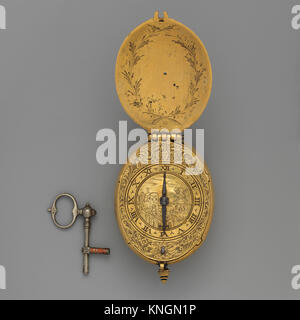 Watch and key. Maker: Watchmaker: John Wright (British, active ca. 1620-40); Date: ca. 1620-40; Culture: British, - Stock Photo