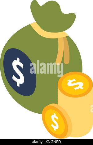 money isometric bag and pile coins currency dollar - Stock Photo