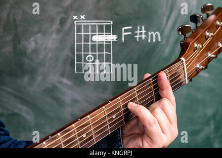 Guitarist playing an a minor Chord on classical acoustic guitar with ...