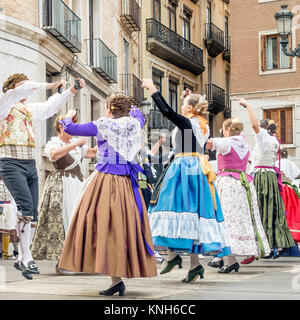 Traditional dancing in the Fallas Balls Al Carrer, Plaza de la Virgen, Valencia, Spain - Stock Photo