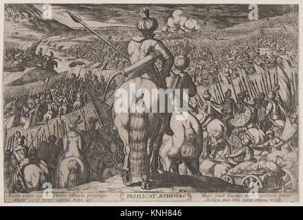 Plate 5: The Defeat of the Ethiopians, from 'The Battles of the Old Testament,'. Artist: Antonio Tempesta (Italian, - Stock Photo