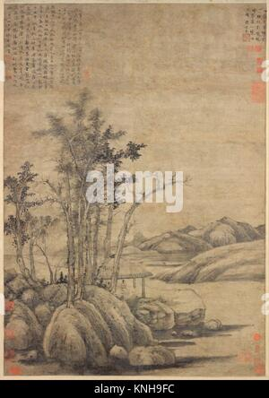 Enjoying the Wilderness in an Autumn Grove. Artist: Ni Zan (Chinese, 1306-1374); Period: Yuan dynasty (1271-1368); - Stock Photo